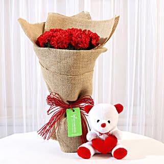 10 Red Carnations Bouquet & Teddy Bear Combo: Valentine Flowers & Teddy Bears