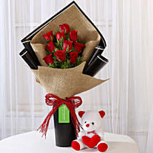 10 Red Roses Bouquet & Teddy Bear Combo: Flowers & Teddy Bears for Birthday