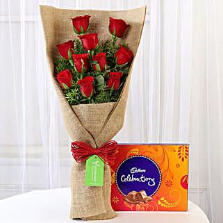 10 Red Roses & Cadbury Celebrations: Send Flowers and Chocolates