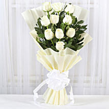 Pristine White Roses Bunch: Birthday Flowers