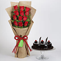 12 Layered Red Roses Bouquet & Truffle Cake: Bhai-Dooj Gifts Bengaluru