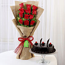 12 Layered Red Roses Bouquet & Truffle Cake: Diwali Gifts Faridabad