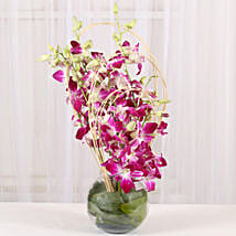 Purple Orchids Vase Arrangement: Gift For Mom