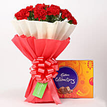 12 Red Carnations Bouquet & Cadbury Celebrations Box: Flowers & Chocolates for Birthday