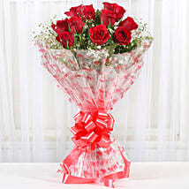 12 Velvety Red Roses Bouquet: Send Flowers to Sadabad