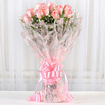 12 Splendid Pink Roses Bouquet: Girlfriend Day Flowers
