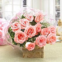 12 Splendid Pink Roses Bouquet: Bhaubeej Gifts for Sister