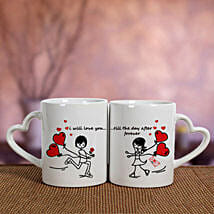 2 Ceramic White Mugs: Anniversary Gifts to Hyderabad