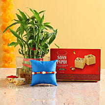 2 Layer Bamboo & Pearl Rakhi With Soan Papdi: