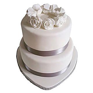 2 Tier White Fondant Cake: Premium Cakes