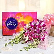 6 Purple Orchids With Cadbury Celebrations: Flowers & Chocolates for Karwa Chauth