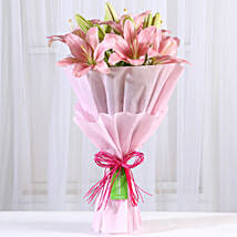 Admirable Pink Asiatic Lilies Bunch: Flowers delivery in Vapi