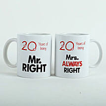 Always Right Couple Mugs White: Send Valentine Gifts to Jaipur