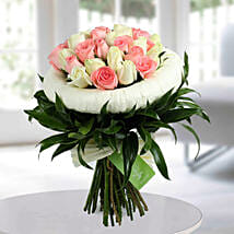 Appealing Pink N White Roses Bunch: Flower Bouquets for Mother's Day