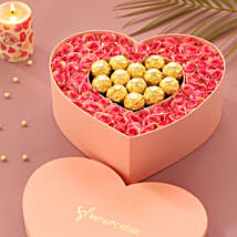 Artificial Roses & Chocolates Heart Box: Send Flowers to East Godavari