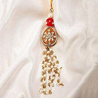 Auspicious Kundan Lumba Rakhi: Rakhi Gifts to Ahmednagar