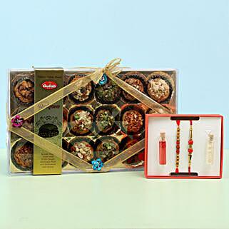 Baklava in Crystal Box & Set of 2 Rakhis: Rudraksha Rakhi
