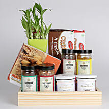 Bamboo Plant with Healthy Snacks Hamper: Diwali Gifts for Employees