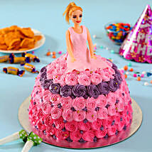 Barbie in Floral Roses Cake: