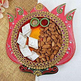 Barfi N Almonds Thali: Pooja Thali for Bhaidooj