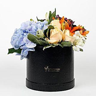 Beautiful Black Box of Mixed 9 Exotic Flowers: