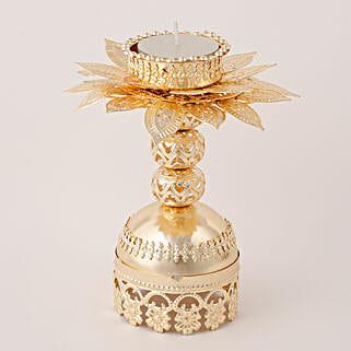 Beautiful Golden T Light Holder: Send Diwali Gifts for Friend
