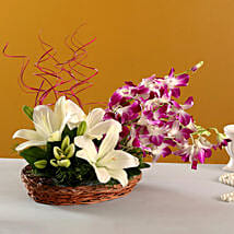 Lilies And Orchids Basket Arrangement: Bhai Dooj Gifts Bhubaneshwar