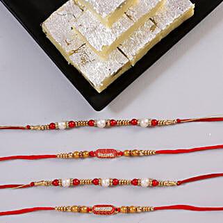 Beautiful Rakhi Set & Pista Burfi: Send Set of 4 Rakhi