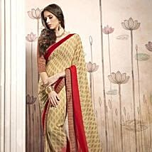Beige Georgette Casual Saree with Multicoloured Blouse: Karwa Chauth Gifts for Saas