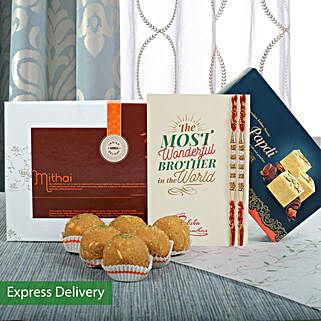 Besan Laddu Rakhi Combo: Rakhi - Same Day Delivery