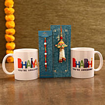 Bhaiya & Bhabhi Mugs With Lumba Rakhi Set: Send Set of 2 Rakhi