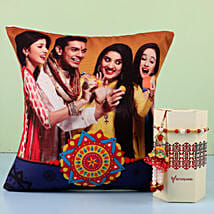 Bhaiya Bhabhi Rakhi & Personalised Cushion Combo: Send Rakhi to Bhatpara