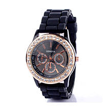 Black Diamante Watch For Women: Buy Watches