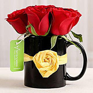 Black Mug of Red Roses: Romantic Gifts