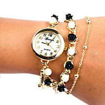 Black N White Pearl Watch For Women: Accessories for Her