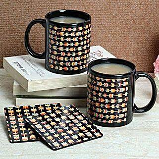 Black Print Coasters With Mugs: Coasters