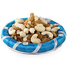 Blue Dry Fruits Round Tray: Send Gourmet Gifts for Her