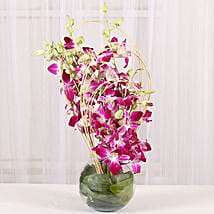 Blue Orchids Vase Arrangement: Fresh Flower Arrangement