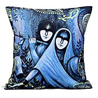 Blue Radha Krishan Cushion: Send Home Decor Gifts for Her