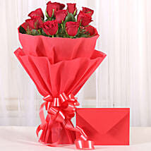 Bouquet N Greeting Card: Valentine Flowers Udupi