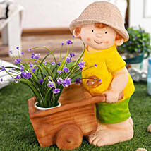 Boy Cart Resin Planter: Gifts for New Arrival