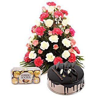 Bright Hues Hamper: Rakhi with Flowers