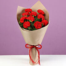 Bright Red Carnations Bouquet: Send Carnations