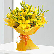 Bright Yellow Asiatic Lilies: Hyderabad anniversary gifts