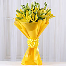 Bright Yellow Asiatic Lilies: Send Flower Bouquets to Mumbai