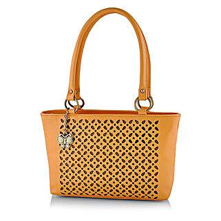 Butterflies Attractive Mustard Handbag: Buy Handbags