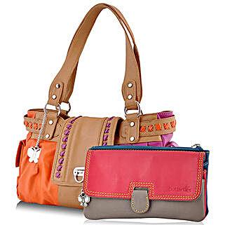 Butterflies Multicolor Handbag Combo: Handbags and Wallets Gifts