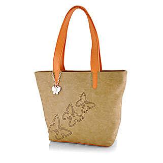 Butterflies Stylish Beige Handbag: Handbags and Wallets