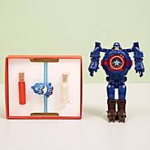 Captain America Transformer Watch & Rakhi Combo: Send Rakhi to Thrissur