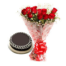 Capturing Heart- Red Roses & Chocolate Cake: Send Flowers to Karur